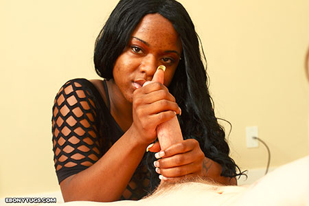 ebony tugging